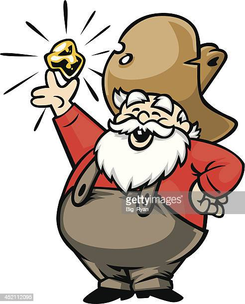happy old gold miner displaying his find - gold rush stock illustrations