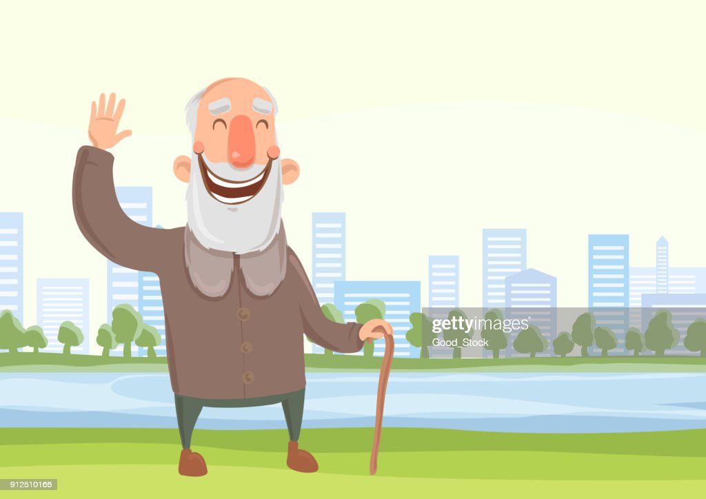 Happy old man with a cane on the morning walk in city park. Active lifestyle and sport activities in old age. Vector illustration.