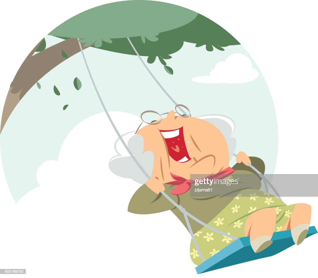 Happy old woman on the swing : stock illustration