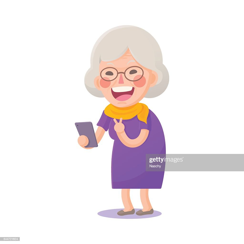 Happy Old Woman Take a Selfie