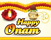 happy onam celebration background with floral