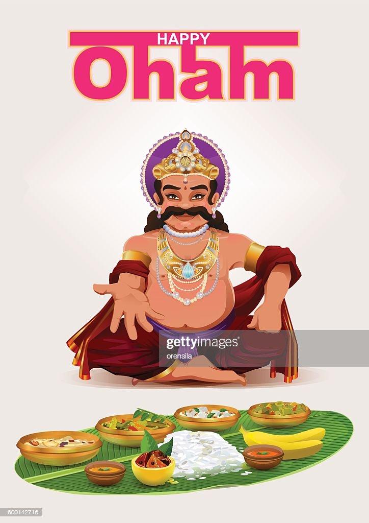 Happy Onam festival in Kerala. God King Mahabali