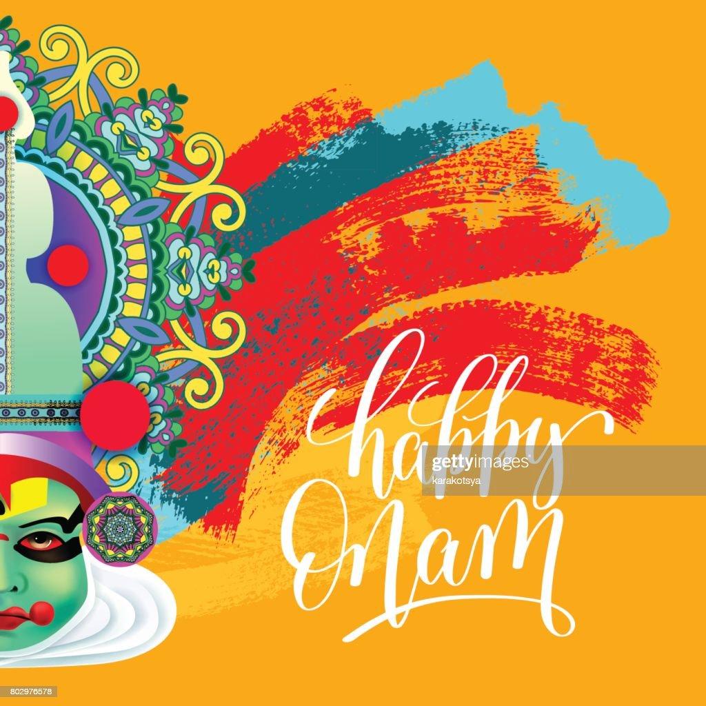 Happy onam greeting card with indian kathakali dancer face vector happy onam greeting card with indian kathakali dancer face vector art m4hsunfo