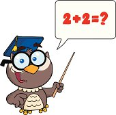 Happy Owl Holding A Pointer With Speech Bubble And Text