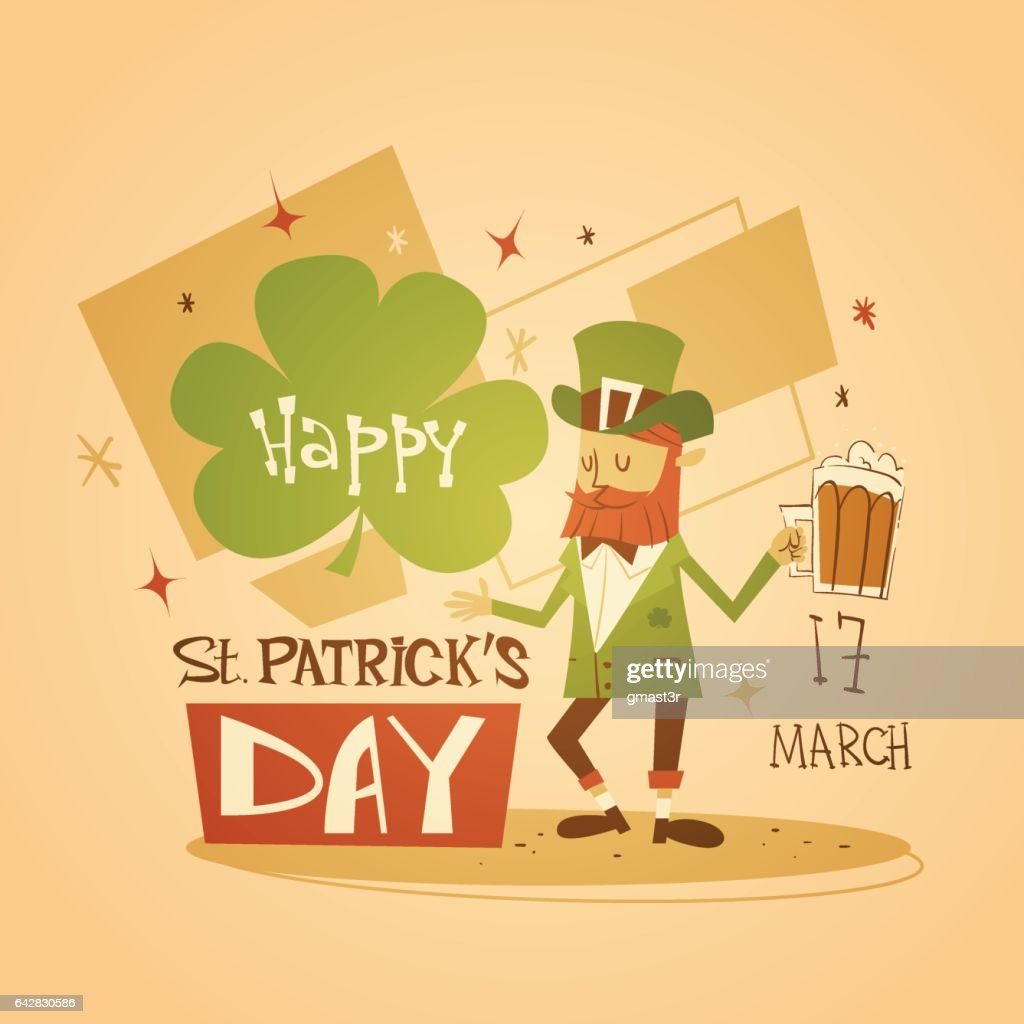 Happy Patrick Day Festival Beer Holiday Poster Fest