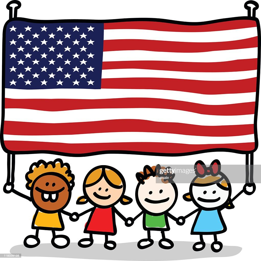 happy patriotic american children with USA flag cartoon image