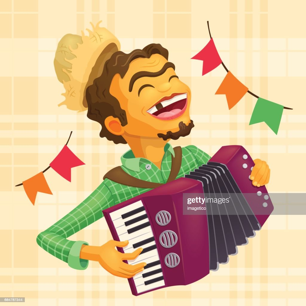Happy peasant playing the accordion
