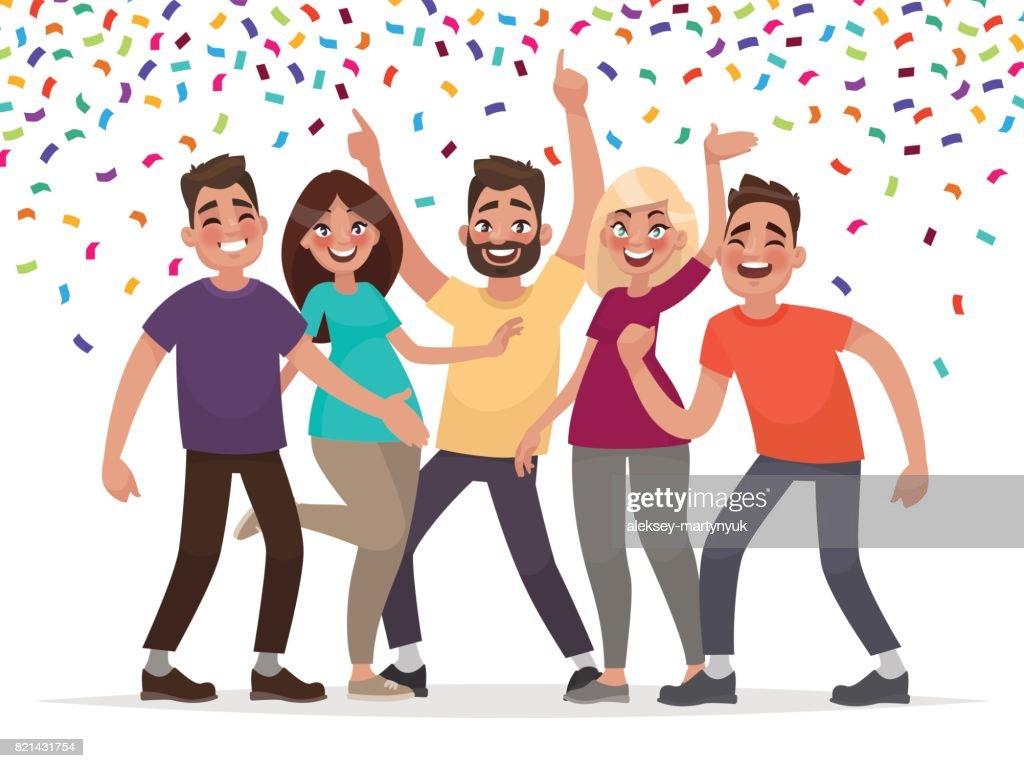 Happy people celebrate an important event. Joyful emotions. Vector illustration