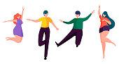 Happy people dancing. Faceless cartoon characters