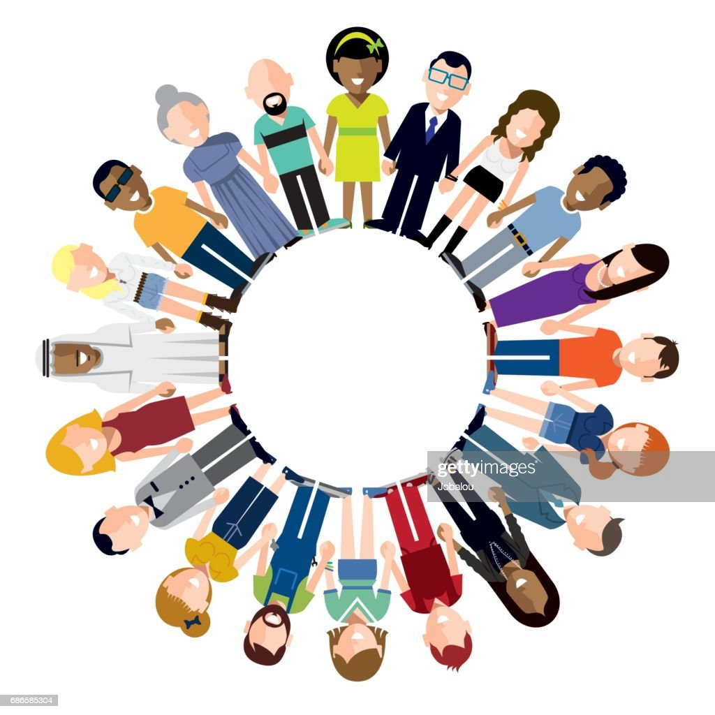 Happy People Holding Hands Circle : stock illustration