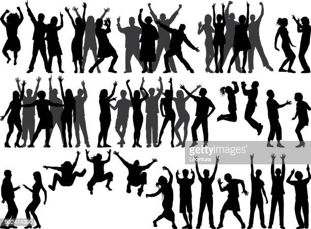 happy people - dancing stock illustrations