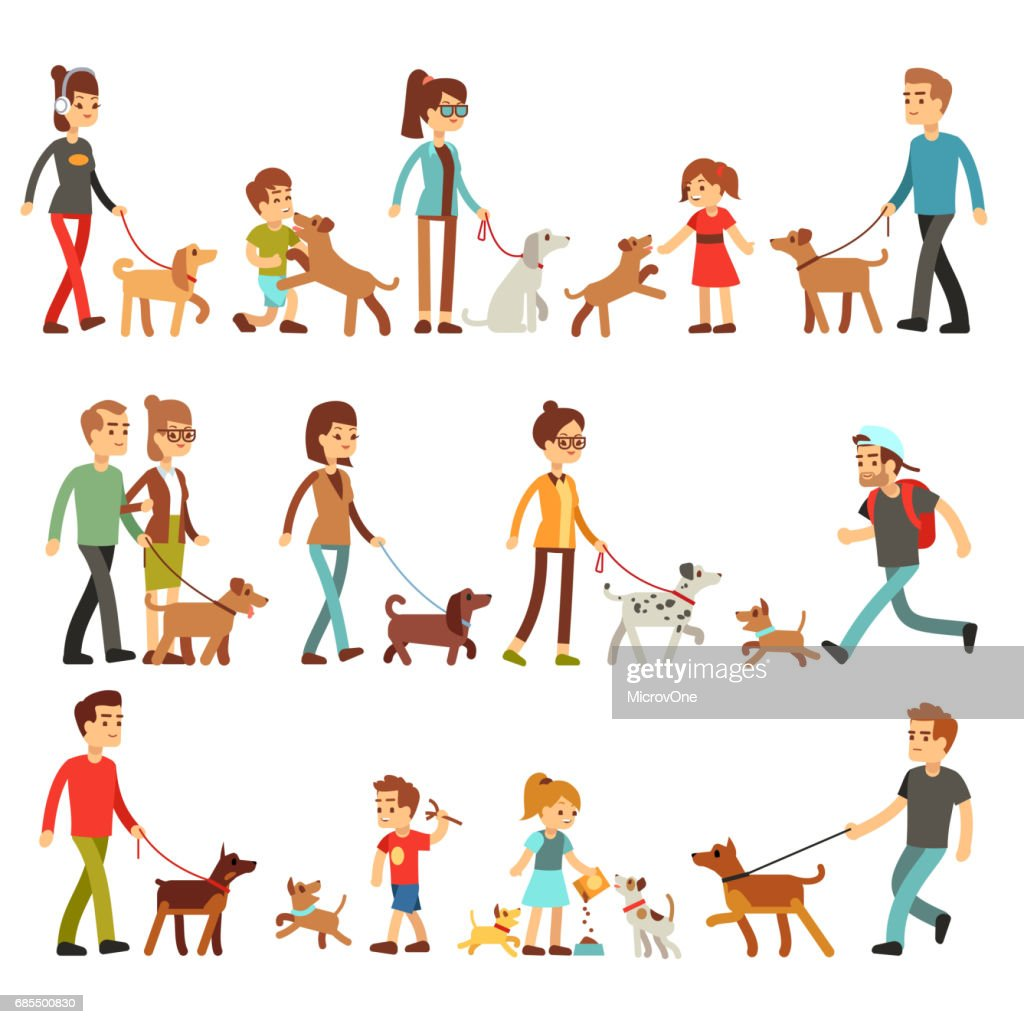 Happy people with pets. Women, men and children playing with dogs and puppes