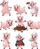 Happy pig cartoon collection set