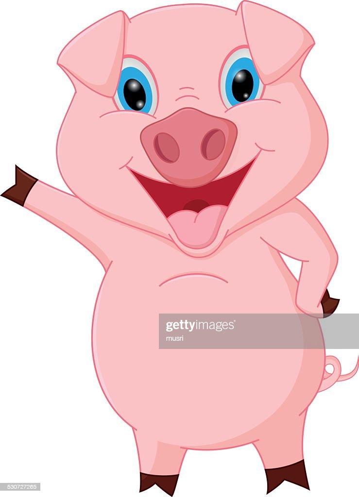 Happy pig cartoon