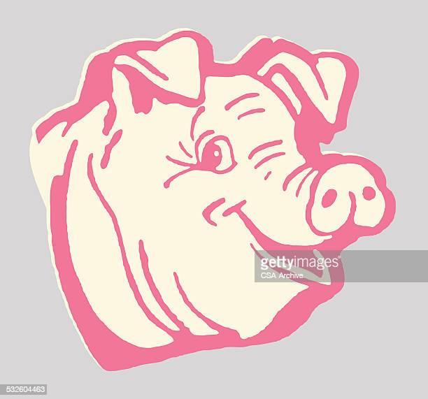 happy pig - pig stock illustrations