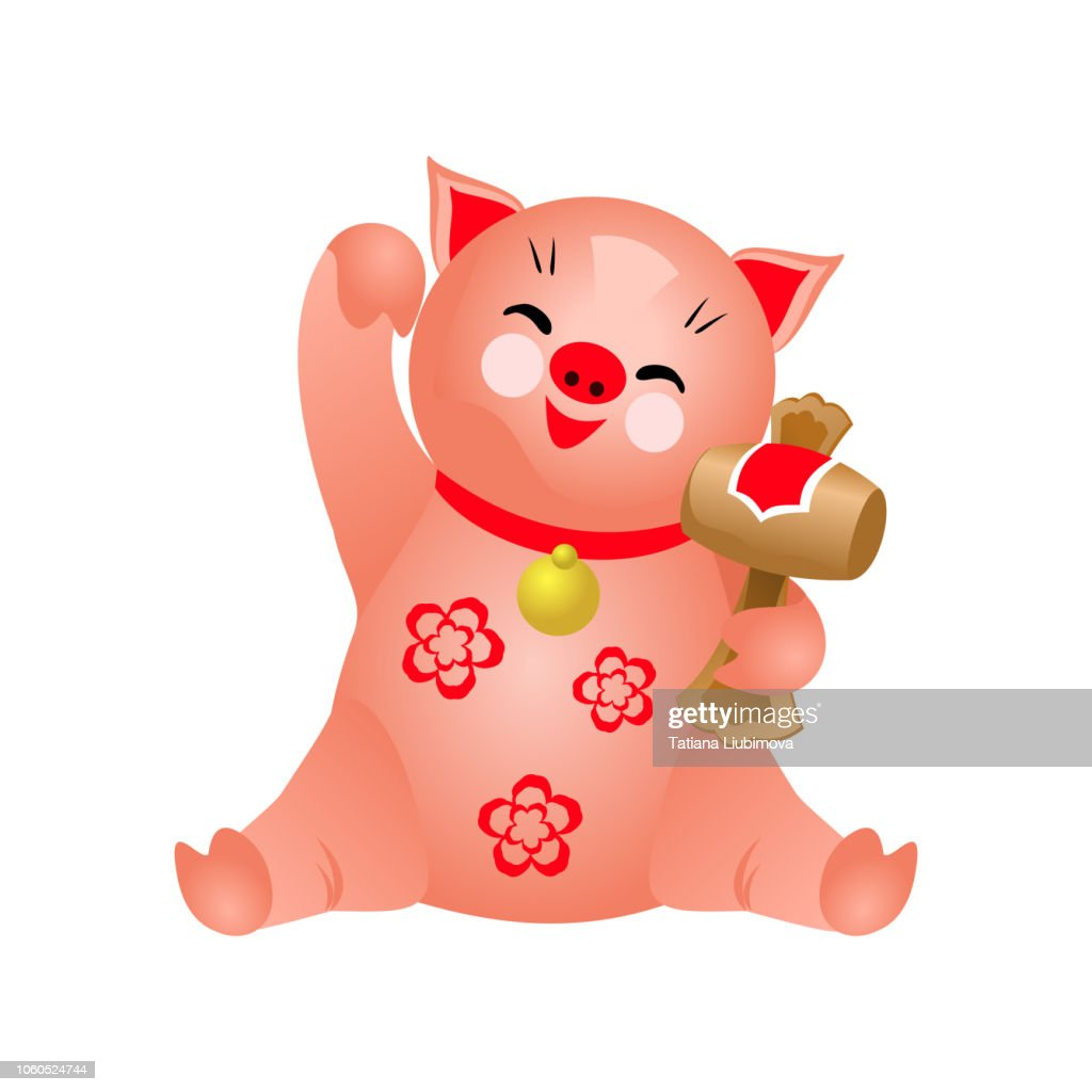 Happy pig with maul and maneki neko greeting gesture, vector illustration for Chinese New Year design.