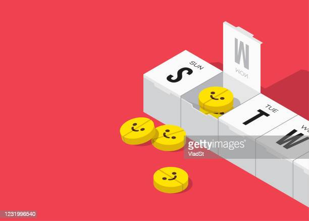 happy pill box drugs monday mood mental health concept - monday stock illustrations