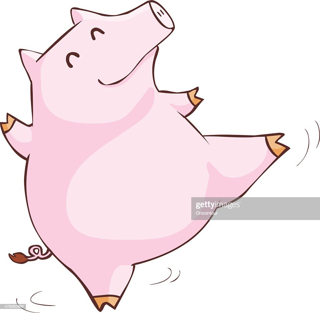 happy pink pig happy dance cartoon vector