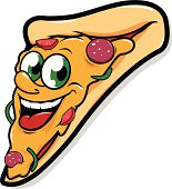 Happy pizza slice character