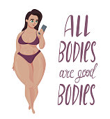 Happy plus size girl. Body positive concept.