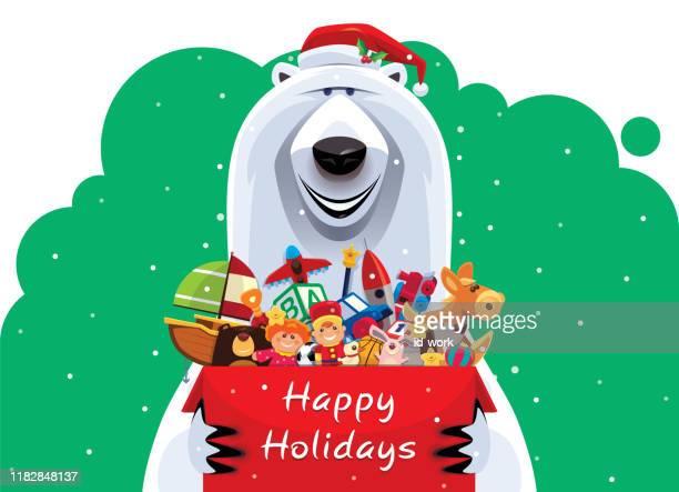 illustrations, cliparts, dessins animés et icônes de ours polaire heureux retenant le carton des jouets - ours polaire