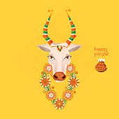 Happy Pongal. Decorated cow and rice in traditional pot.