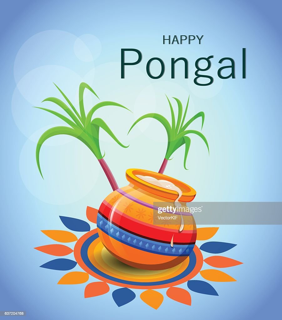 Happy Pongal greeting card on blue background.