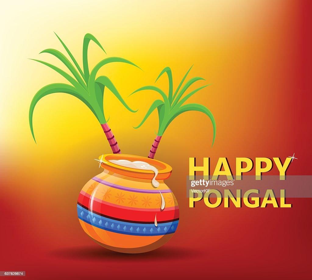 Happy Pongal greeting card on bright sunny background. Makar sankranti