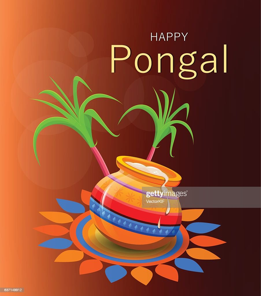 Happy Pongal greeting card on brown background.