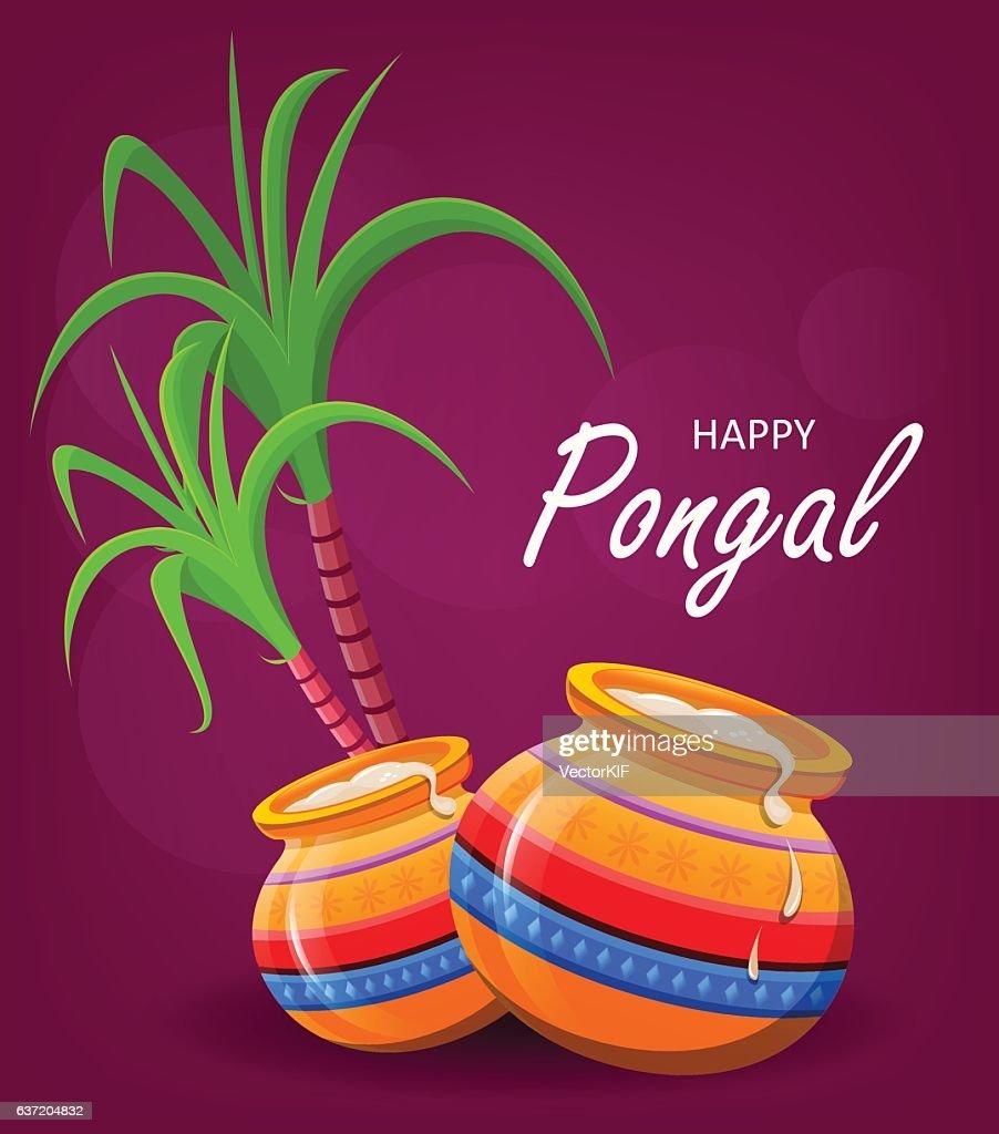 Happy Pongal greeting card on violet background. Makar sankranti.