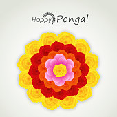 Happy Pongal, harvest festival celebrations with colorful flower