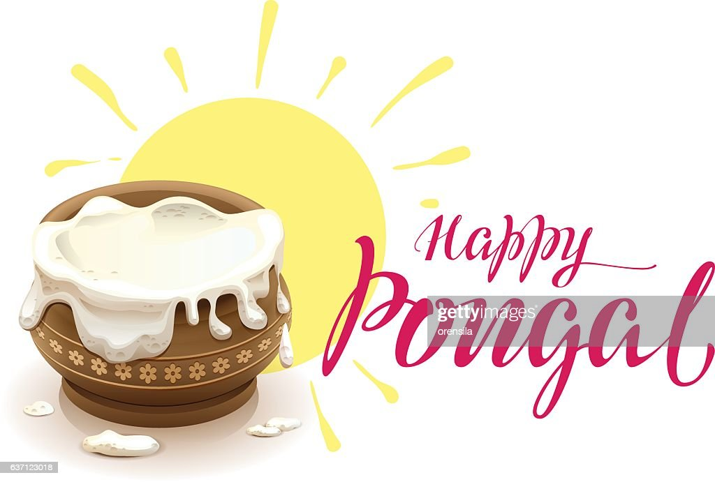 Happy Pongal lettering text for greeting card. Full pot