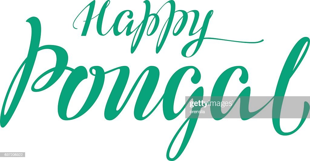 Happy Pongal lettering text for greeting card