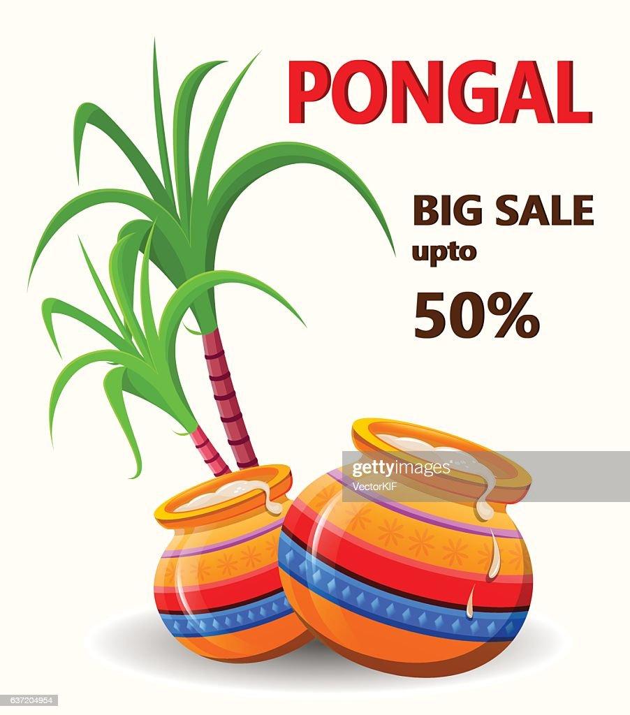 Happy Pongal poster for sale on white background. Makar sankranti.