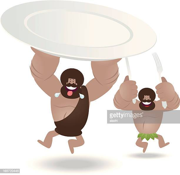happy prehistoric man holding a blank plate, fork and knife - early homo sapiens stock illustrations, clip art, cartoons, & icons