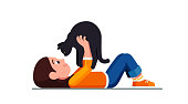 Happy preschool girl lying on ground holding black cat looking in it's eyes. Smiling kid holding cute pet. Child cartoon character flat vector clipart illustration.
