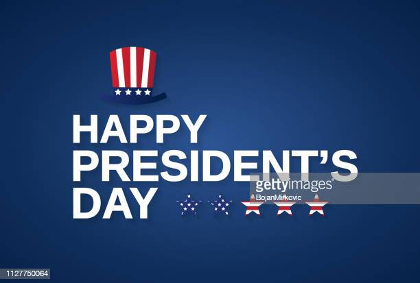 happy presidents day banner, card or background with hat. vector illustration. - {{asset.href}} stock illustrations