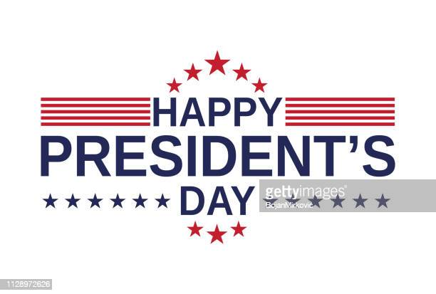 happy presidents day card, background on white background. vector illustration. - presidential candidate stock illustrations