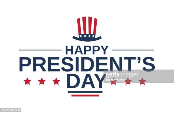 happy presidents day card on white background with hat. vector illustration. - president stock illustrations