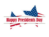 Happy Presidents Day. Five-pointed star with flag usa on white background. Vector illustration