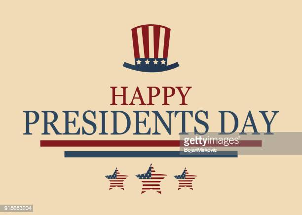 happy presidents day poster with hat and stars. vector illustration. - happy flag day stock illustrations
