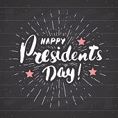 Happy President's Day Vintage USA greeting card, United States of America celebration. Hand lettering, american holiday grunge textured retro design vector illustration on ckalkboard.