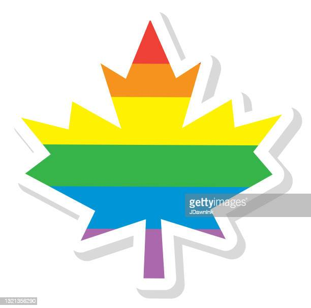 lgbtq2 happy pride month canadian maple leaf with rainbow colors on white background - june stock illustrations