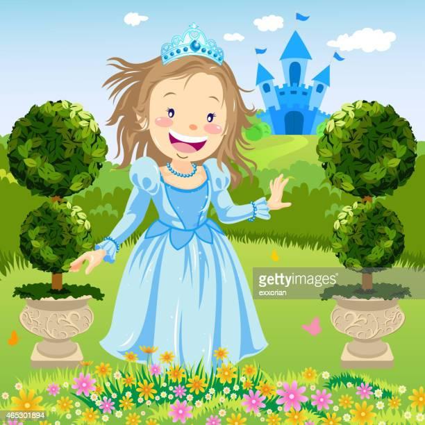 happy princess in garden - girl mound stock illustrations