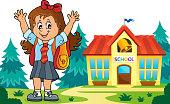 Happy pupil girl theme image 6