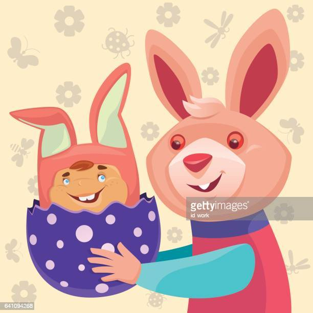 happy rabbit with bunny baby - easter bunny costume stock illustrations, clip art, cartoons, & icons