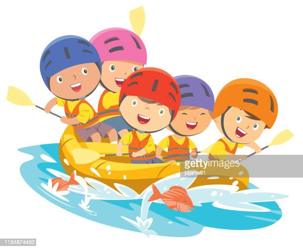 happy rafting team in a river - rapid stock illustrations