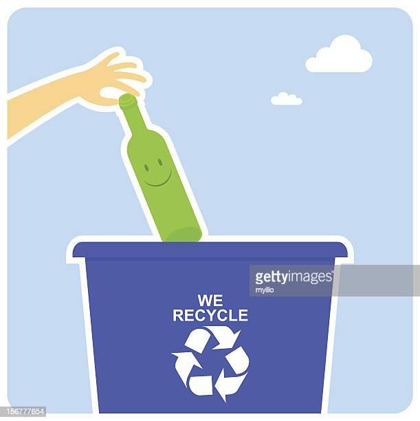ilustraciones, imágenes clip art, dibujos animados e iconos de stock de feliz de reciclaje - tirar basura