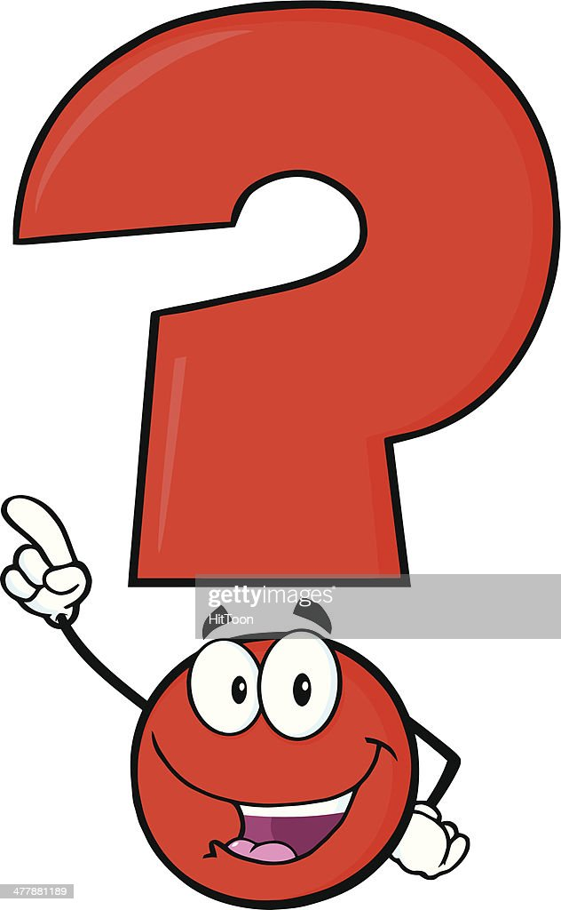 Happy Red Question Mark Cartoon Character Pointing With Finger