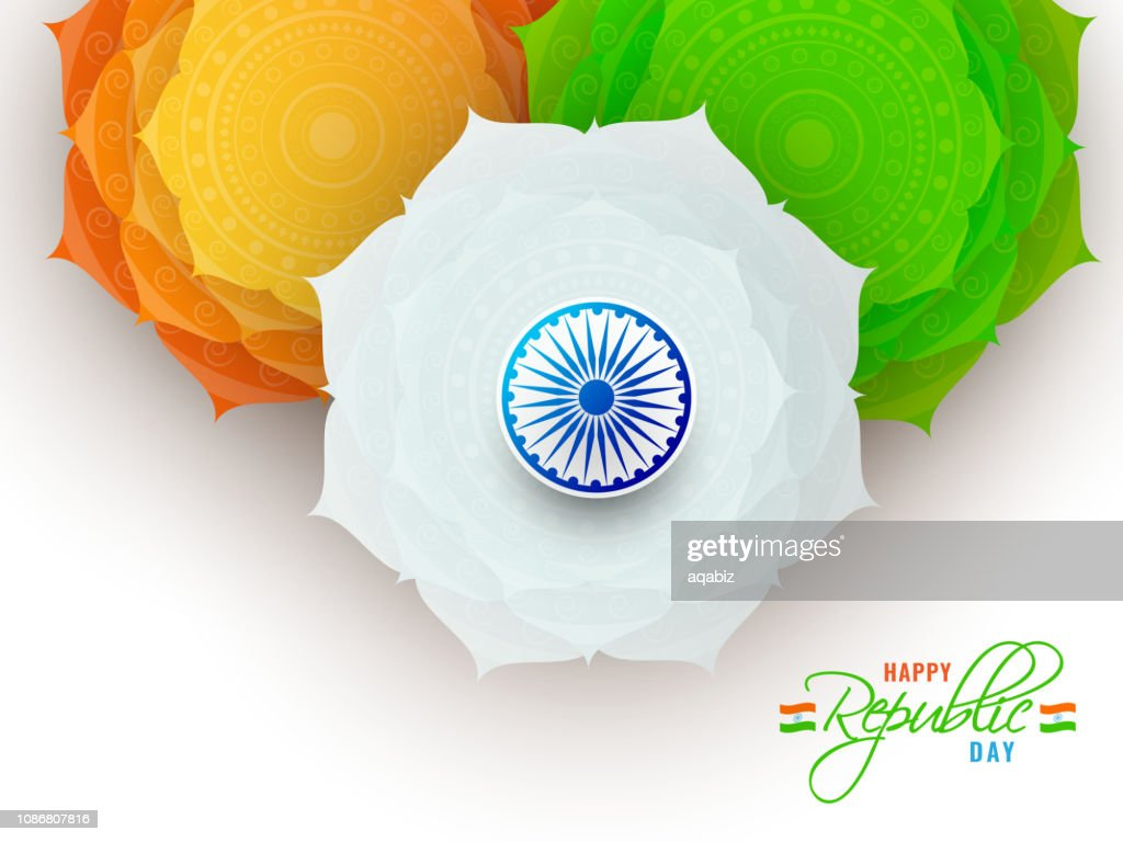 Happy Republic Day greeting card design decorated with tricolor paper cut flowers with Ashok Wheel on white background.